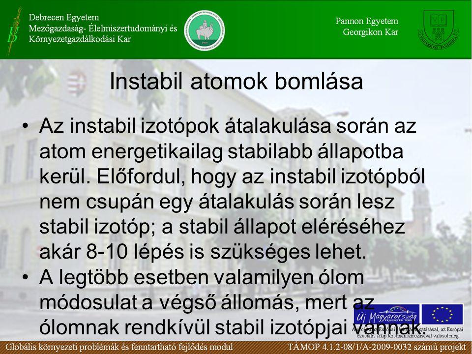Instabil atomok bomlása Az instabil izotópok átalakulása során az atom energetikailag stabilabb állapotba kerül.