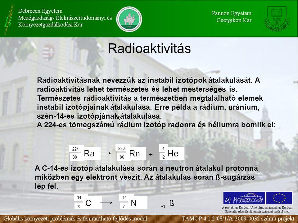 Radioaktivitás Radioaktivitásnak nevezzük az instabil izotópok átalakulását. A radioaktivitás lehet természetes és lehet mesterséges is. Természetes r