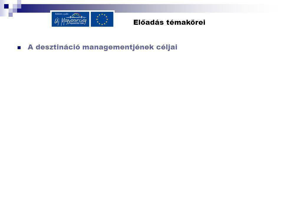 Előadás témakörei A desztináció managementjének céljai