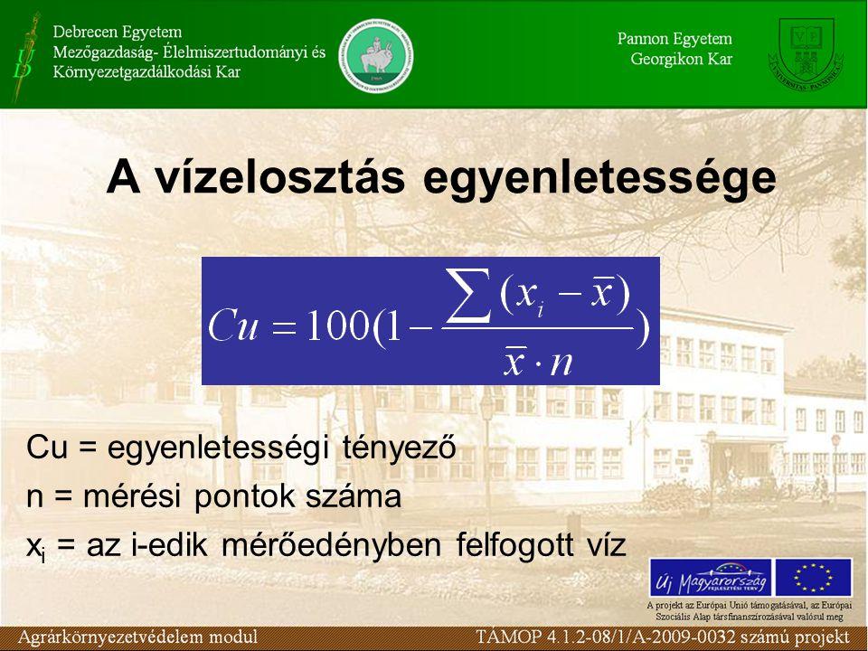 A vízelosztás egyenletessége Cu = egyenletességi tényező n = mérési pontok száma x i = az i-edik mérőedényben felfogott víz