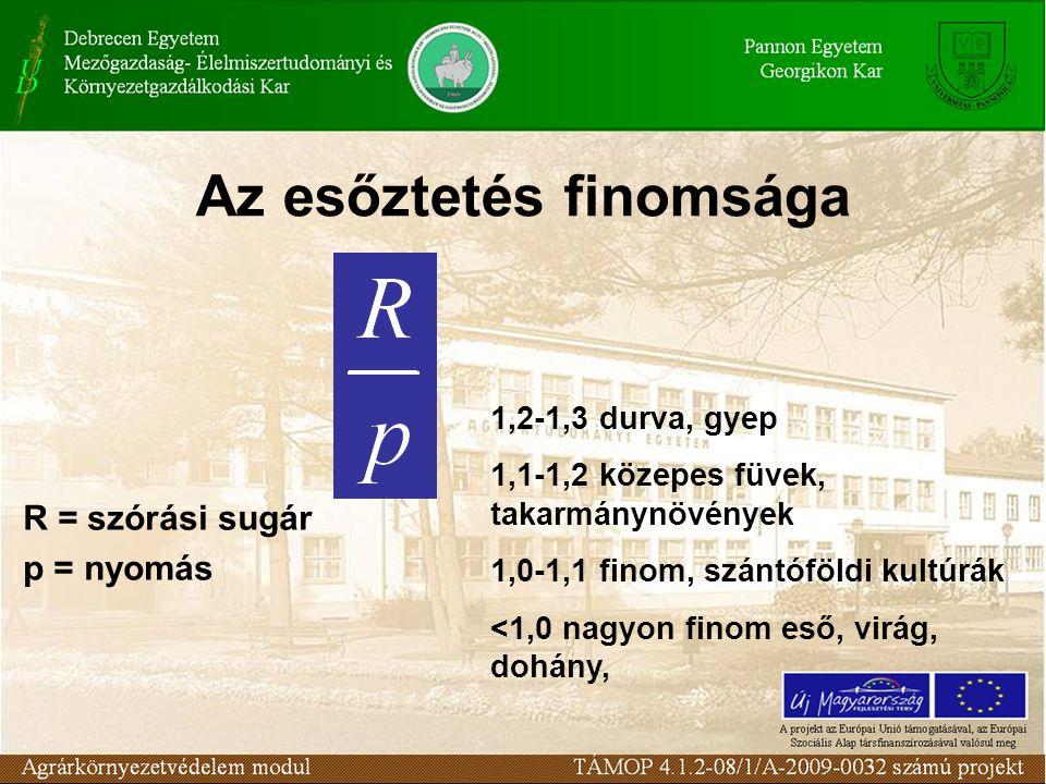 Az esőztetés finomsága R = szórási sugár p = nyomás 1,2-1,3 durva, gyep 1,1-1,2 közepes füvek, takarmánynövények 1,0-1,1 finom, szántóföldi kultúrák <1,0 nagyon finom eső, virág, dohány,