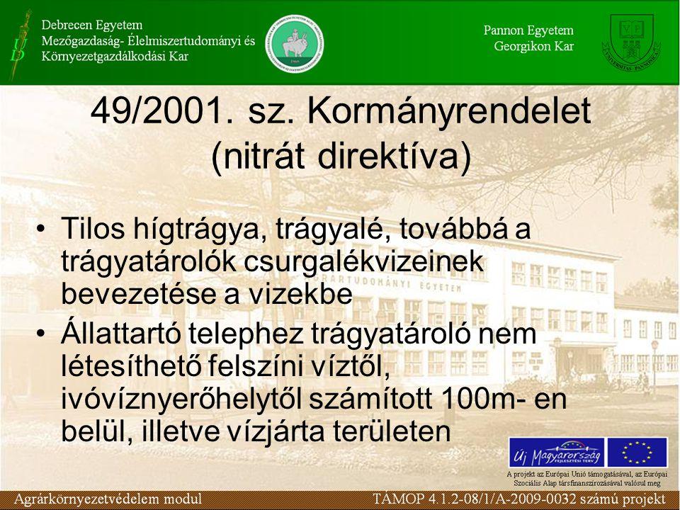 49/2001. sz. Kormányrendelet (nitrát direktíva) Tilos hígtrágya, trágyalé, továbbá a trágyatárolók csurgalékvizeinek bevezetése a vizekbe Állattartó t