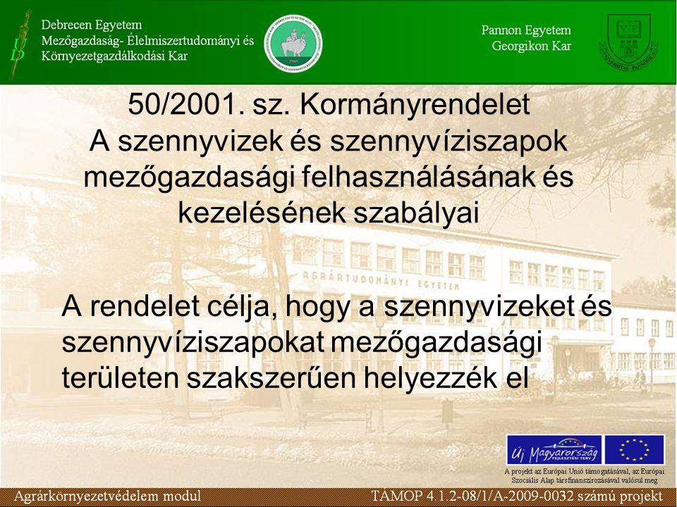 50/2001. sz. Kormányrendelet A szennyvizek és szennyvíziszapok mezőgazdasági felhasználásának és kezelésének szabályai A rendelet célja, hogy a szenny