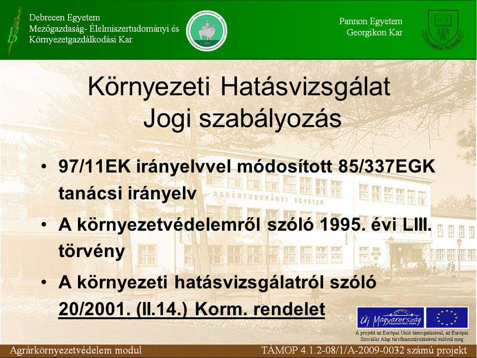 Környezeti Hatásvizsgálat Jogi szabályozás 97/11EK irányelvvel módosított 85/337EGK tanácsi irányelv A környezetvédelemről szóló 1995. évi LIII. törvé