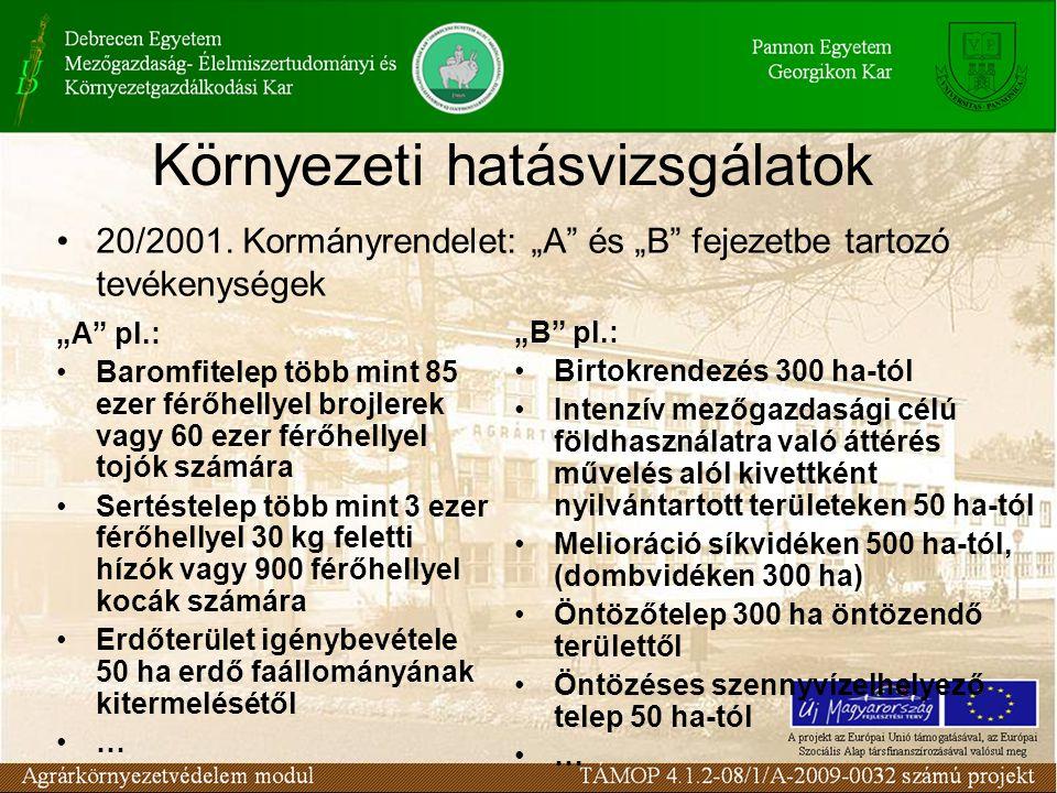 """Környezeti hatásvizsgálatok 20/2001. Kormányrendelet: """"A"""" és """"B"""" fejezetbe tartozó tevékenységek """"A"""" pl.: Baromfitelep több mint 85 ezer férőhellyel b"""