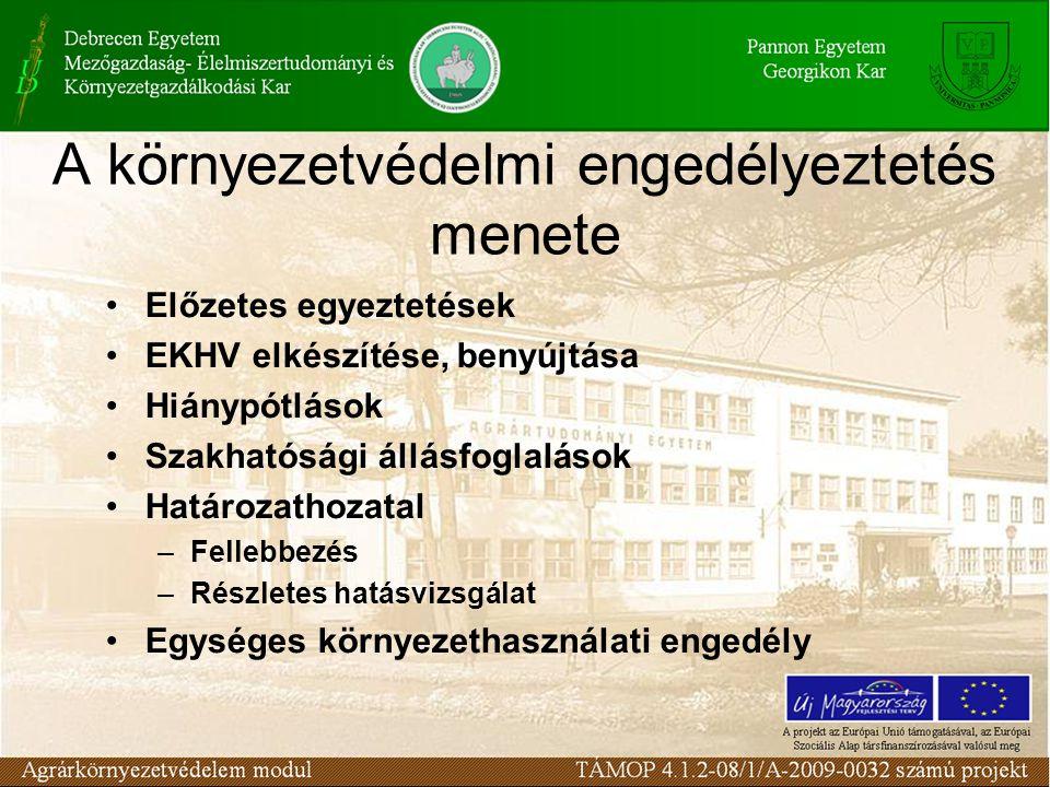A környezetvédelmi engedélyeztetés menete Előzetes egyeztetések EKHV elkészítése, benyújtása Hiánypótlások Szakhatósági állásfoglalások Határozathozatal –Fellebbezés –Részletes hatásvizsgálat Egységes környezethasználati engedély