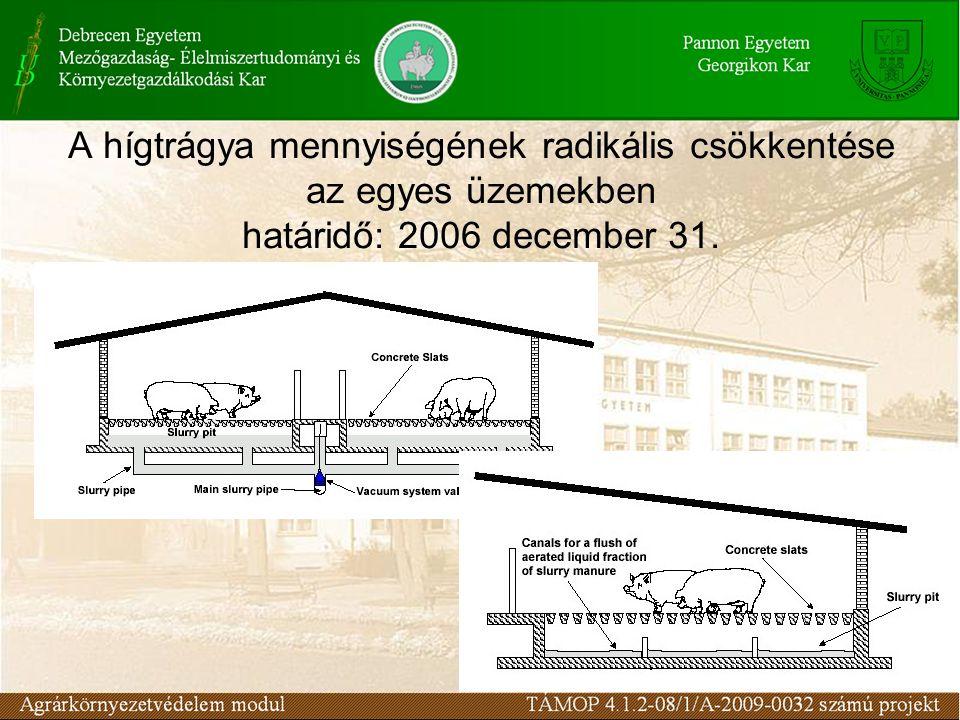 A hígtrágya mennyiségének radikális csökkentése az egyes üzemekben határidő: 2006 december 31.