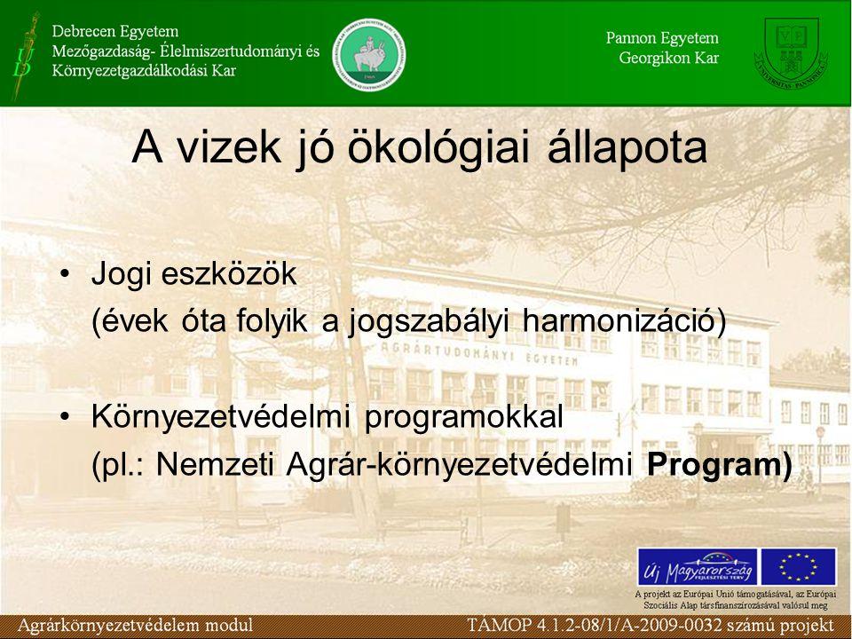 A vizek jó ökológiai állapota Jogi eszközök (évek óta folyik a jogszabályi harmonizáció) Környezetvédelmi programokkal (pl.: Nemzeti Agrár-környezetvédelmi Program)