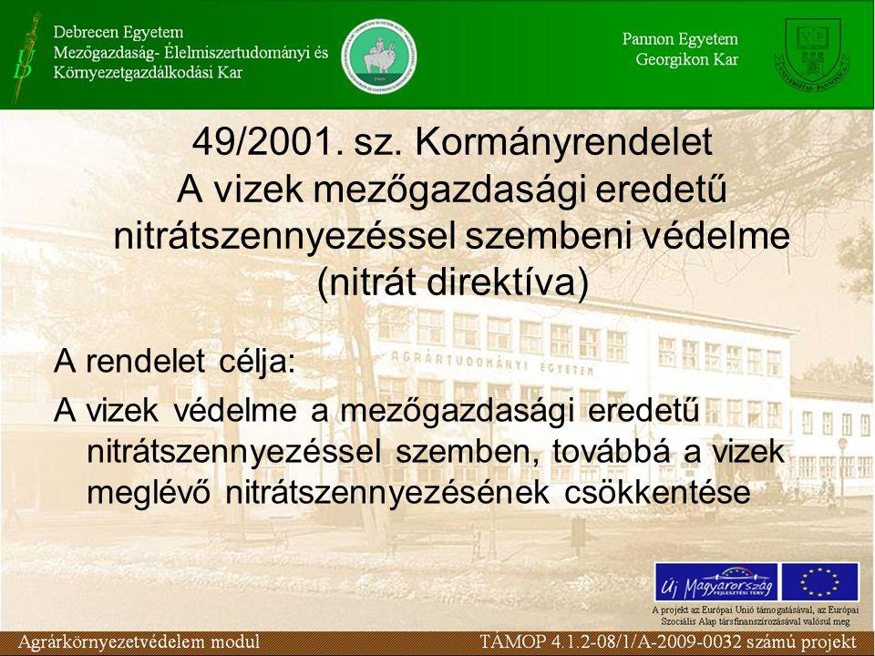 49/2001. sz. Kormányrendelet A vizek mezőgazdasági eredetű nitrátszennyezéssel szembeni védelme (nitrát direktíva) A rendelet célja: A vizek védelme a