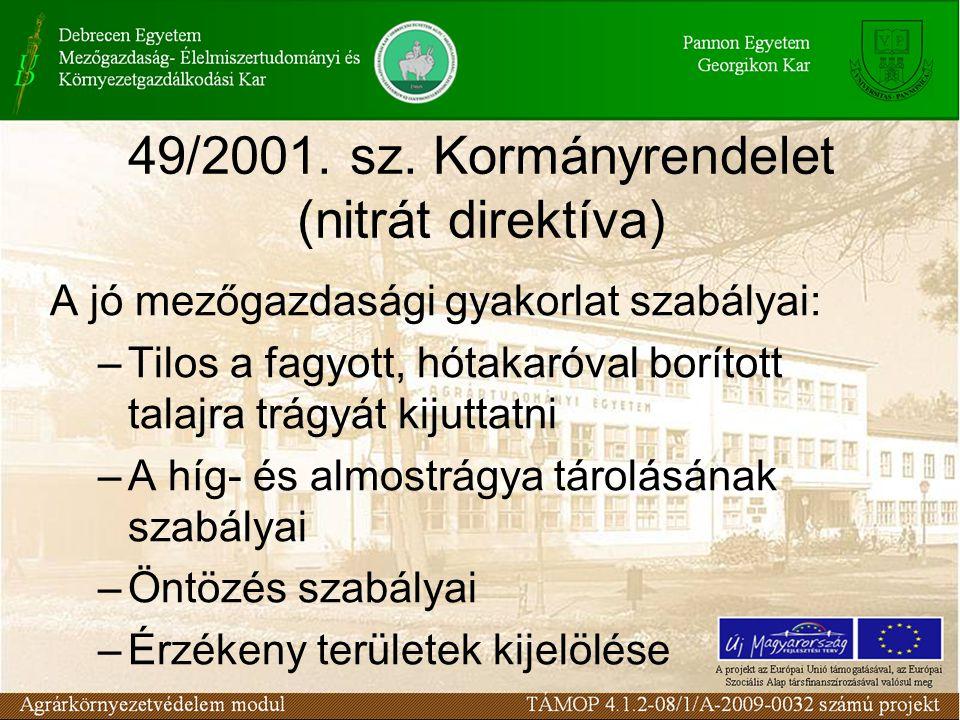 49/2001. sz. Kormányrendelet (nitrát direktíva) A jó mezőgazdasági gyakorlat szabályai: –Tilos a fagyott, hótakaróval borított talajra trágyát kijutta