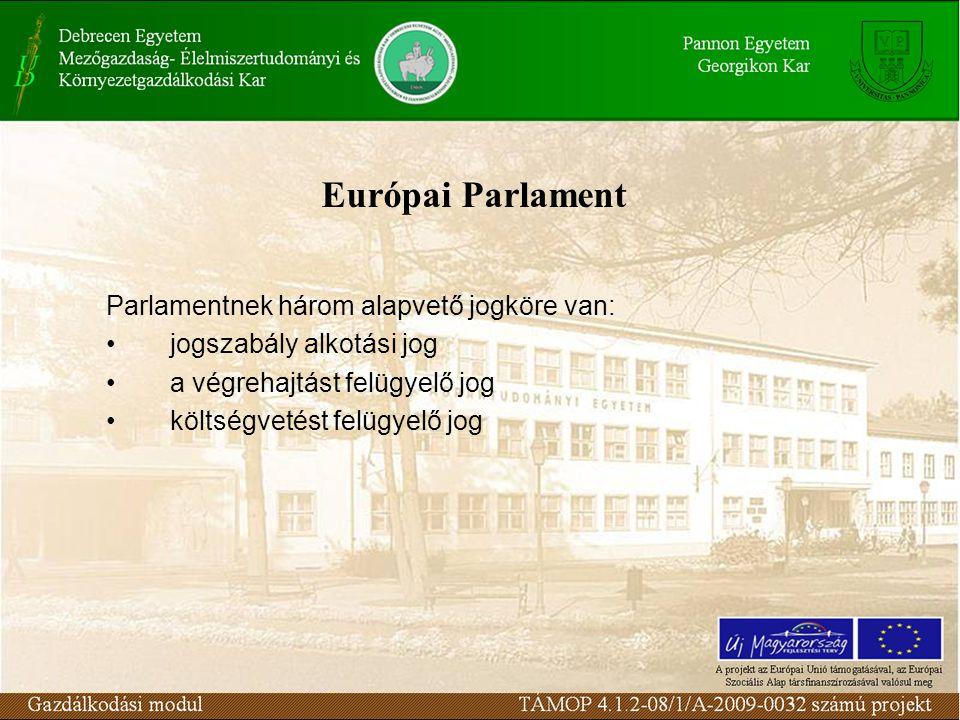 Európai Parlament Parlamentnek három alapvető jogköre van: jogszabály alkotási jog a végrehajtást felügyelő jog költségvetést felügyelő jog