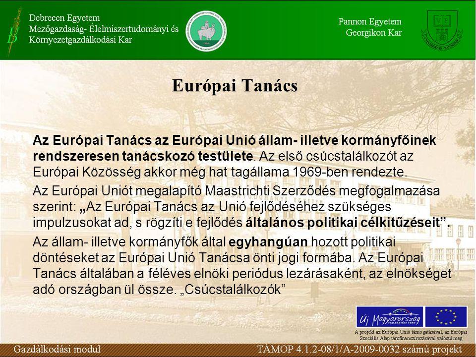 Európai Tanács Az Európai Tanács az Európai Unió állam- illetve kormányfőinek rendszeresen tanácskozó testülete.