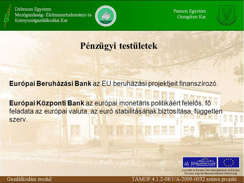 Pénzügyi testületek Európai Beruházási Bank az EU beruházási projektjeit finanszírozó.