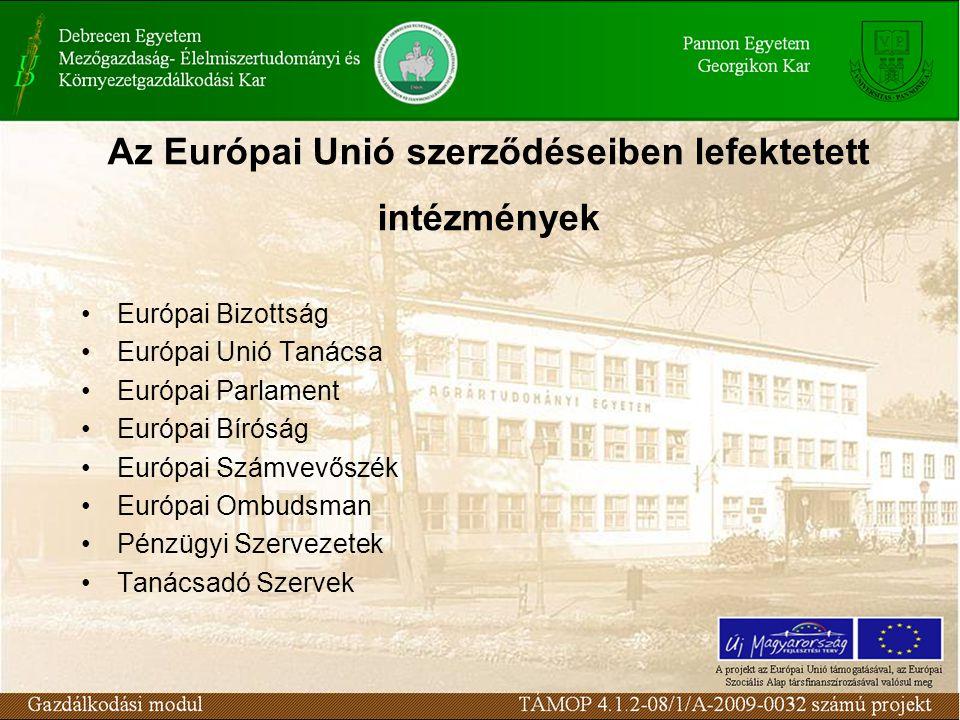Európai Bizottság Európai Unió Tanácsa Európai Parlament Európai Bíróság Európai Számvevőszék Európai Ombudsman Pénzügyi Szervezetek Tanácsadó Szervek Az Európai Unió szerződéseiben lefektetett intézmények
