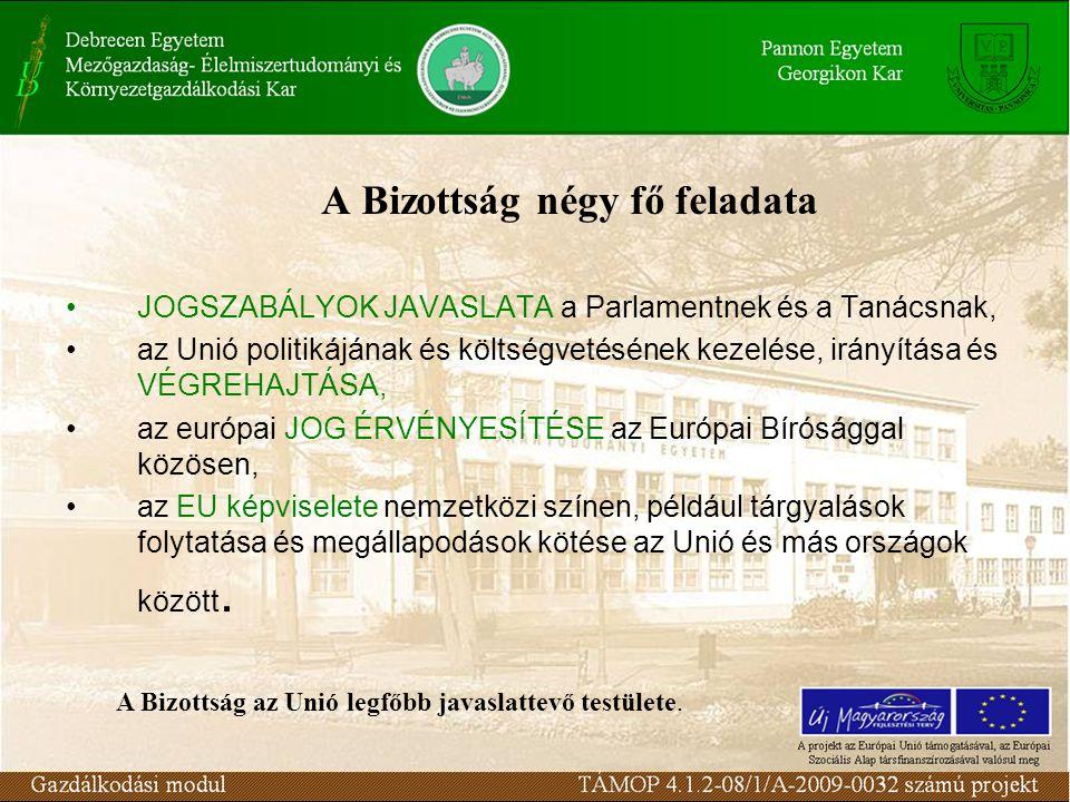 A Bizottság négy fő feladata JOGSZABÁLYOK JAVASLATA a Parlamentnek és a Tanácsnak, az Unió politikájának és költségvetésének kezelése, irányítása és VÉGREHAJTÁSA, az európai JOG ÉRVÉNYESÍTÉSE az Európai Bírósággal közösen, az EU képviselete nemzetközi színen, például tárgyalások folytatása és megállapodások kötése az Unió és más országok között.