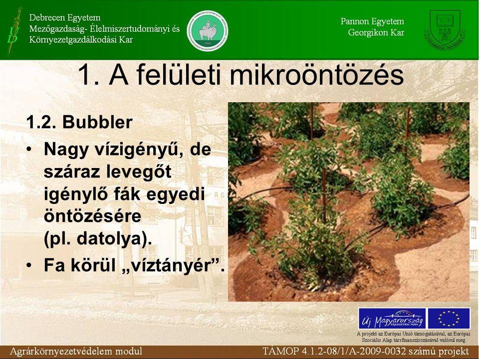 """1. A felületi mikroöntözés 1.2. Bubbler Nagy vízigényű, de száraz levegőt igénylő fák egyedi öntözésére (pl. datolya). Fa körül """"víztányér""""."""