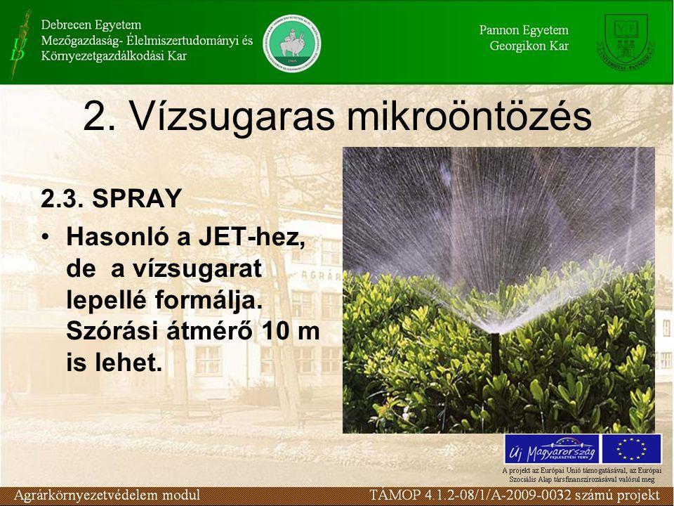 2. Vízsugaras mikroöntözés 2.3. SPRAY Hasonló a JET-hez, de a vízsugarat lepellé formálja. Szórási átmérő 10 m is lehet.