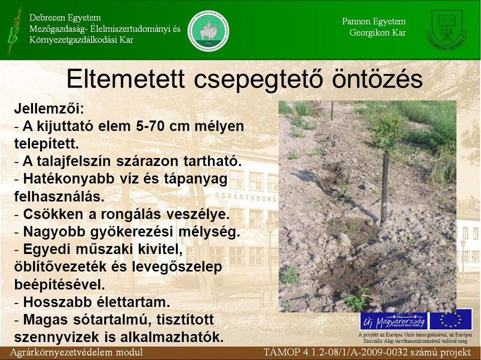 Eltemetett csepegtető öntözés Jellemzői: - A kijuttató elem 5-70 cm mélyen telepített. - A talajfelszín szárazon tartható. - Hatékonyabb víz és tápany