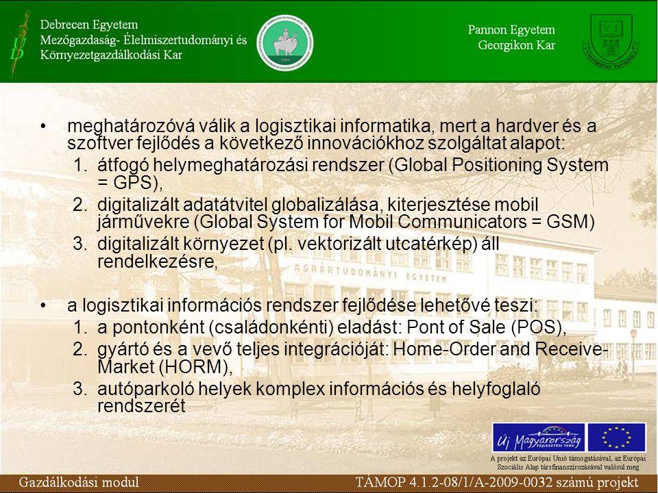 meghatározóvá válik a logisztikai informatika, mert a hardver és a szoftver fejlődés a következő innovációkhoz szolgáltat alapot: 1.átfogó helymeghatározási rendszer (Global Positioning System = GPS), 2.digitalizált adatátvitel globalizálása, kiterjesztése mobil járművekre (Global System for Mobil Communicators = GSM) 3.digitalizált környezet (pl.