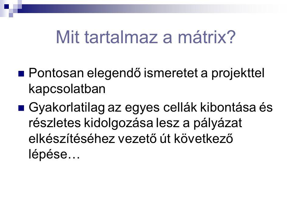 Mit tartalmaz a mátrix? Pontosan elegendő ismeretet a projekttel kapcsolatban Gyakorlatilag az egyes cellák kibontása és részletes kidolgozása lesz a