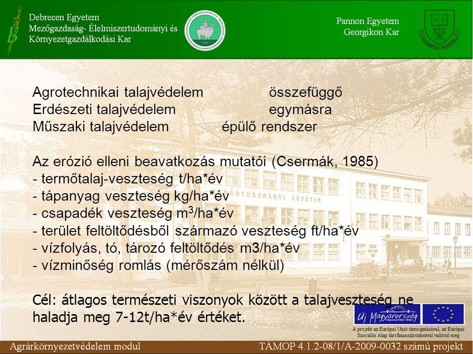 Agrotechnikai talajvédelem összefüggő Erdészeti talajvédelemegymásra Műszaki talajvédelemépülő rendszer Az erózió elleni beavatkozás mutatói (Csermák, 1985) - termőtalaj-veszteség t/ha*év - tápanyag veszteség kg/ha*év - csapadék veszteség m 3 /ha*év - terület feltöltődésből származó veszteség ft/ha*év - vízfolyás, tó, tározó feltöltődés m3/ha*év - vízminőség romlás (mérőszám nélkül) Cél: átlagos természeti viszonyok között a talajveszteség ne haladja meg 7-12t/ha*év értéket.