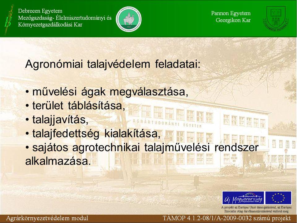 Agronómiai talajvédelem feladatai: művelési ágak megválasztása, terület táblásítása, talajjavítás, talajfedettség kialakítása, sajátos agrotechnikai talajművelési rendszer alkalmazása.
