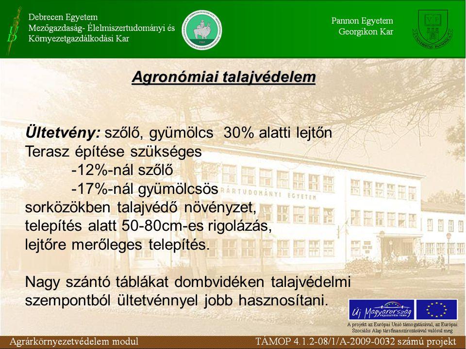Agronómiai talajvédelem Ültetvény: szőlő, gyümölcs 30% alatti lejtőn Terasz építése szükséges -12%-nál szőlő -17%-nál gyümölcsös sorközökben talajvédő