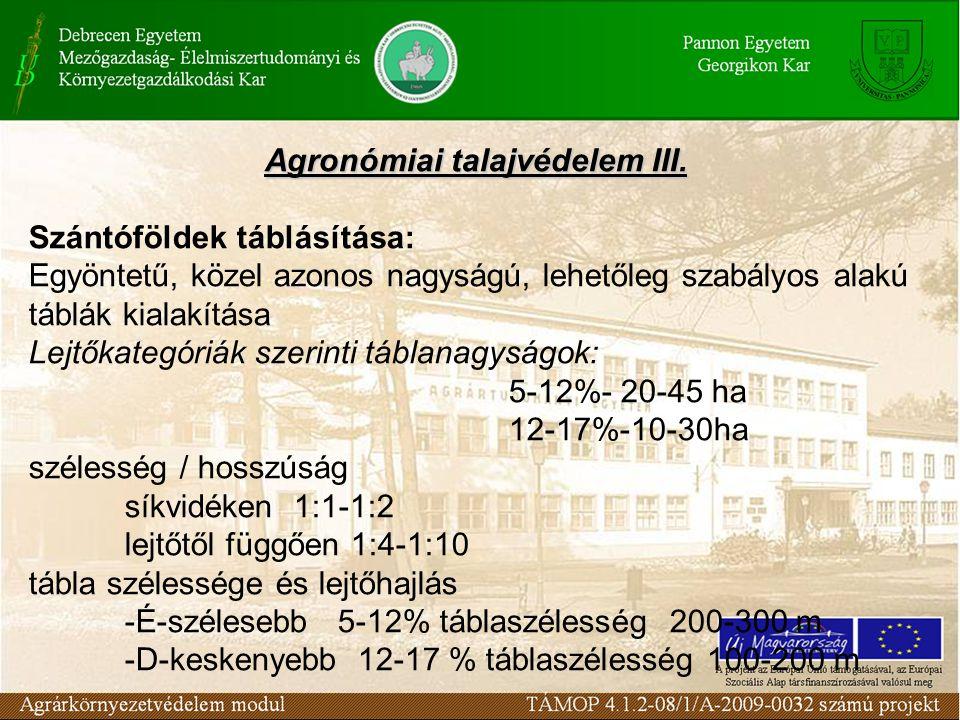 Agronómiai talajvédelem III. Szántóföldek táblásítása: Egyöntetű, közel azonos nagyságú, lehetőleg szabályos alakú táblák kialakítása Lejtőkategóriák