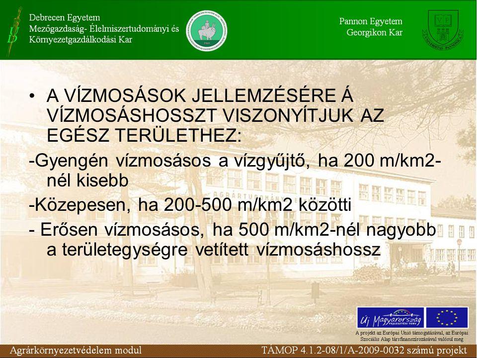 A VÍZMOSÁSOK JELLEMZÉSÉRE Á VÍZMOSÁSHOSSZT VISZONYÍTJUK AZ EGÉSZ TERÜLETHEZ: -Gyengén vízmosásos a vízgyűjtő, ha 200 m/km2- nél kisebb -Közepesen, ha 200-500 m/km2 közötti - Erősen vízmosásos, ha 500 m/km2-nél nagyobb a területegységre vetített vízmosáshossz