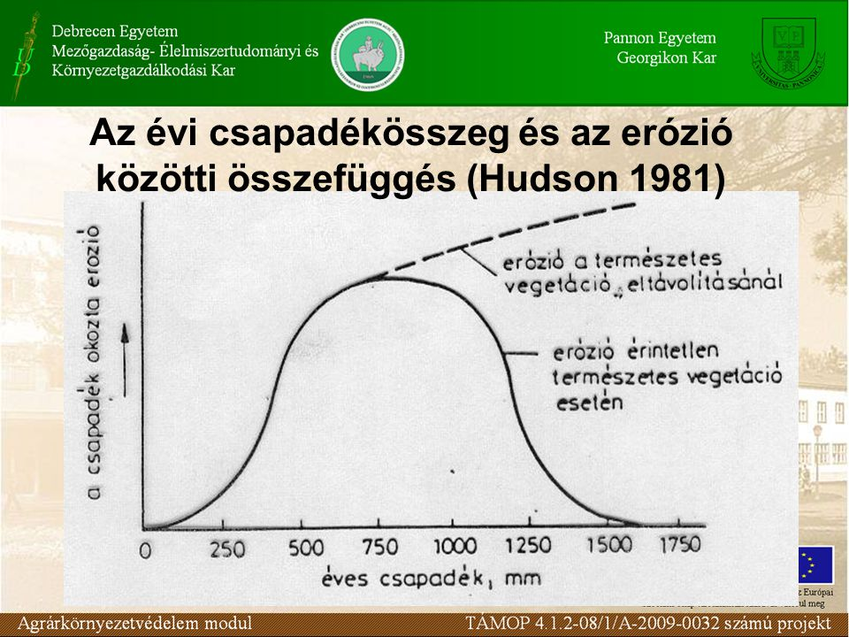 Növényzet szerepe: –A csapadék felfogása –Hótakaró felhalmozása –Csapadék beszivárgásának és tározódásának elősegítése –Talajnedvesség megőrzése –Felszín érdességének növelése Eróziót befolyásoló tényezők