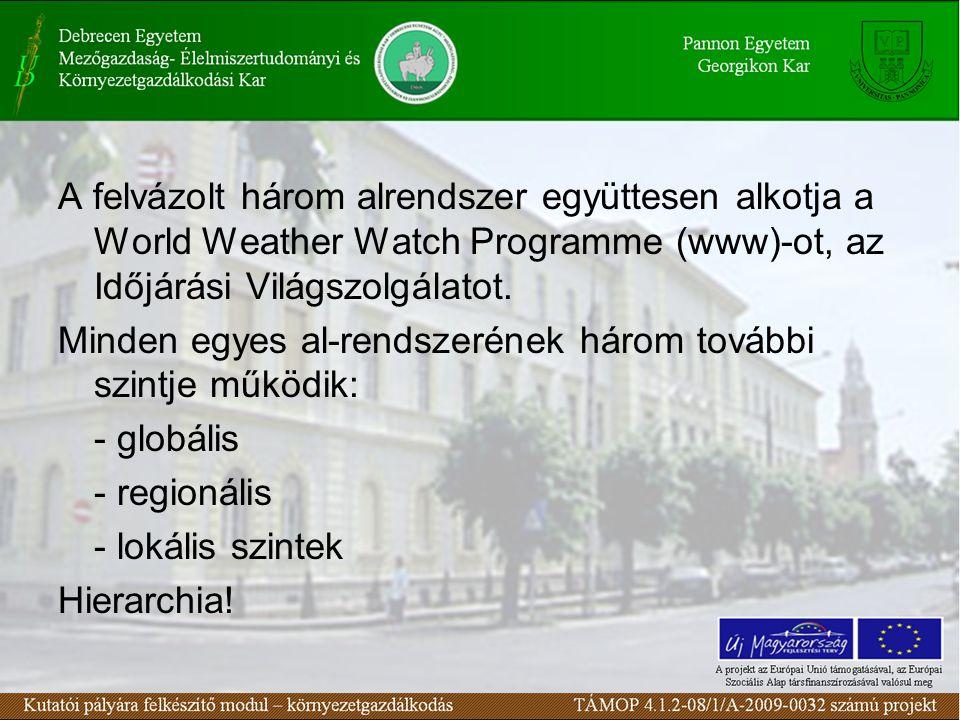 A felvázolt három alrendszer együttesen alkotja a World Weather Watch Programme (www)-ot, az Időjárási Világszolgálatot. Minden egyes al-rendszerének
