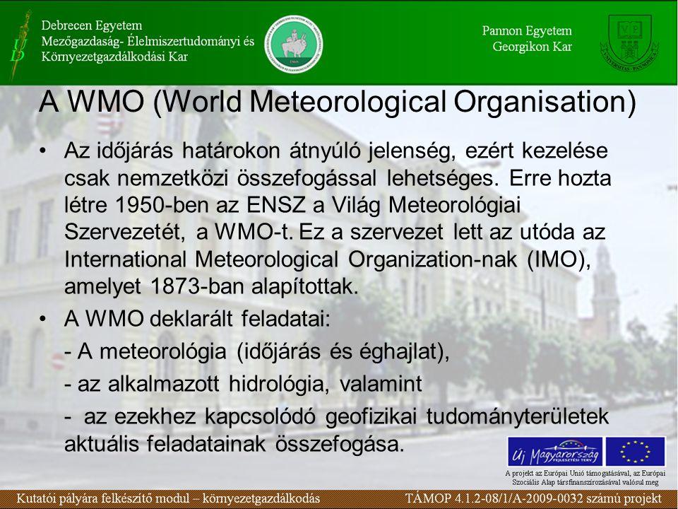 A WMO (World Meteorological Organisation) Az időjárás határokon átnyúló jelenség, ezért kezelése csak nemzetközi összefogással lehetséges. Erre hozta