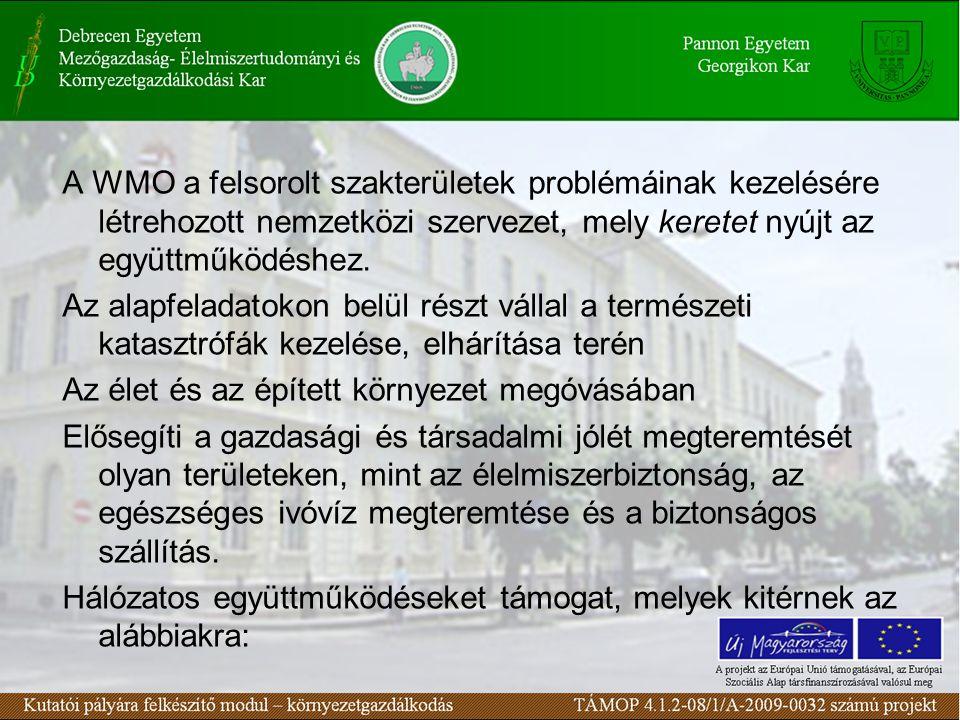 A WMO a felsorolt szakterületek problémáinak kezelésére létrehozott nemzetközi szervezet, mely keretet nyújt az együttműködéshez. Az alapfeladatokon b