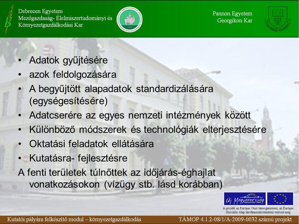 Adatok gyűjtésére azok feldolgozására A begyűjtött alapadatok standardizálására (egységesítésére) Adatcserére az egyes nemzeti intézmények között Külö