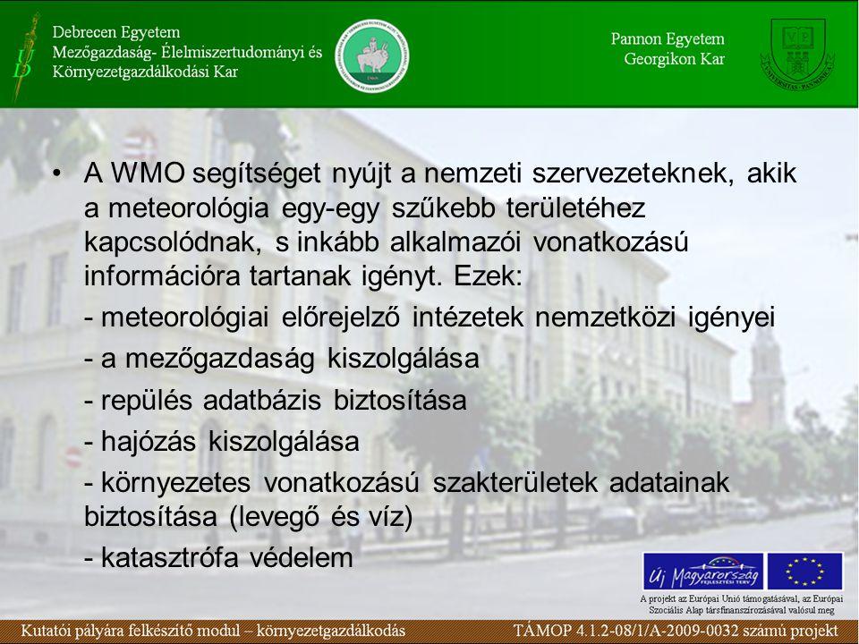 A WMO segítséget nyújt a nemzeti szervezeteknek, akik a meteorológia egy-egy szűkebb területéhez kapcsolódnak, s inkább alkalmazói vonatkozású informá
