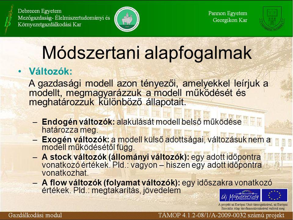 Módszertani alapfogalmak Változók: A gazdasági modell azon tényezői, amelyekkel leírjuk a modellt, megmagyarázzuk a modell működését és meghatározzuk különböző állapotait.