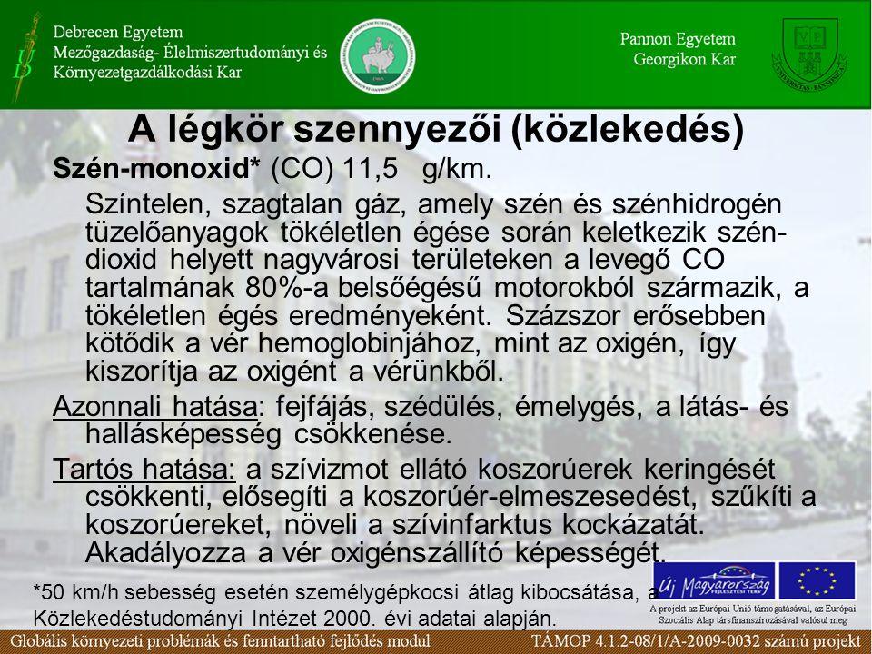 A légkör szennyezői (közlekedés) Szén-monoxid* (CO) 11,5 g/km.