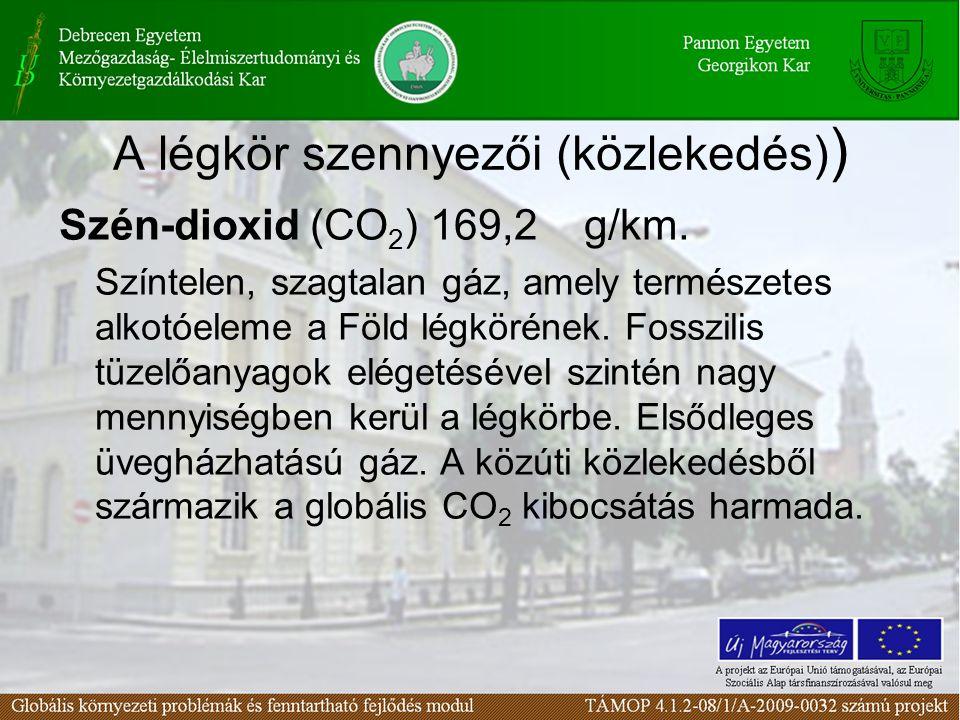 A légkör szennyezői (közlekedés) ) Szén-dioxid (CO 2 ) 169,2 g/km. Színtelen, szagtalan gáz, amely természetes alkotóeleme a Föld légkörének. Fosszili