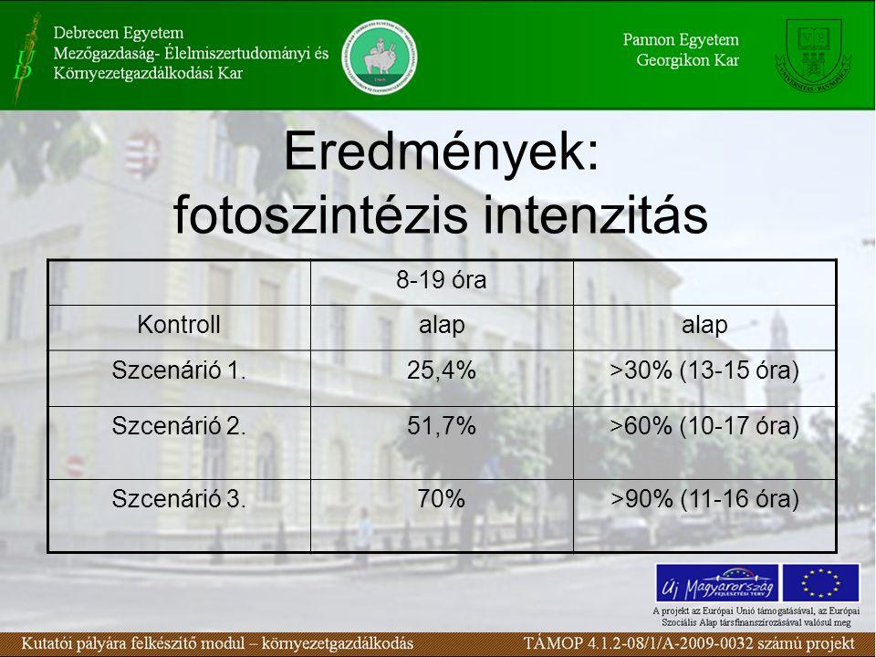 Eredmények: fotoszintézis intenzitás 8-19 óra Kontrollalap Szcenárió 1.25,4%>30% (13-15 óra) Szcenárió 2.51,7%>60% (10-17 óra) Szcenárió 3.70%>90% (11