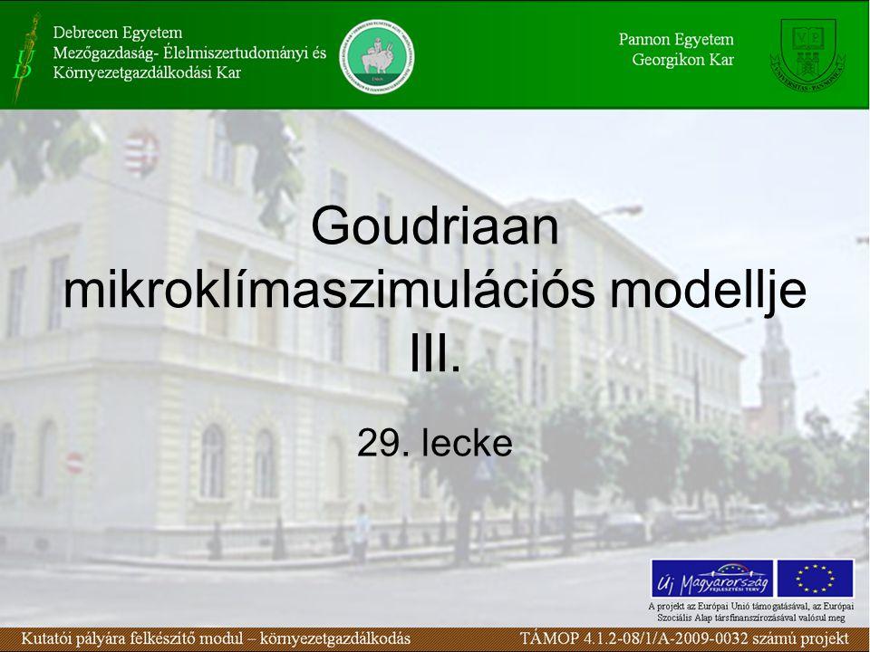 Goudriaan mikroklímaszimulációs modellje III. 29. lecke
