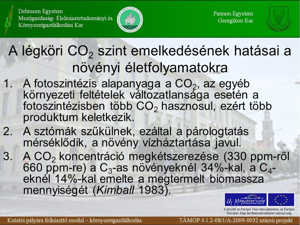 A légköri CO 2 szint emelkedésének hatásai a növényi életfolyamatokra 1.A fotoszintézis alapanyaga a CO 2, az egyéb környezeti feltételek változatlans