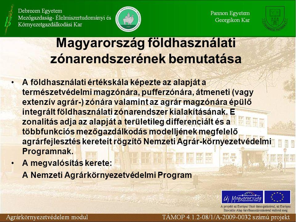 Magyarország földhasználati zónarendszerének bemutatása A földhasználati értékskála képezte az alapját a természetvédelmi magzónára, pufferzónára, átmeneti (vagy extenzív agrár-) zónára valamint az agrár magzónára épülő integrált földhasználati zónarendszer kialakításának.