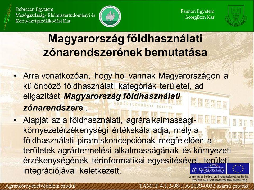 A vázolt elképzelés megvalósításának, Magyarország integrált földhasználati zónarendszere kialakításának, kulcsfontosságú eleme a területek mezőgazdálkodási termelési alkalmasságának (agrárpotenciáljának) valamint környezeti érzékenységének objektív, ökológiai alapú, többszempontú elemzése, értékelése, majd e két értékelési szempont (agrár- és környezeti érték) mentén kialakuló természeti erőforrásmérleg két oldalának egybevetése.