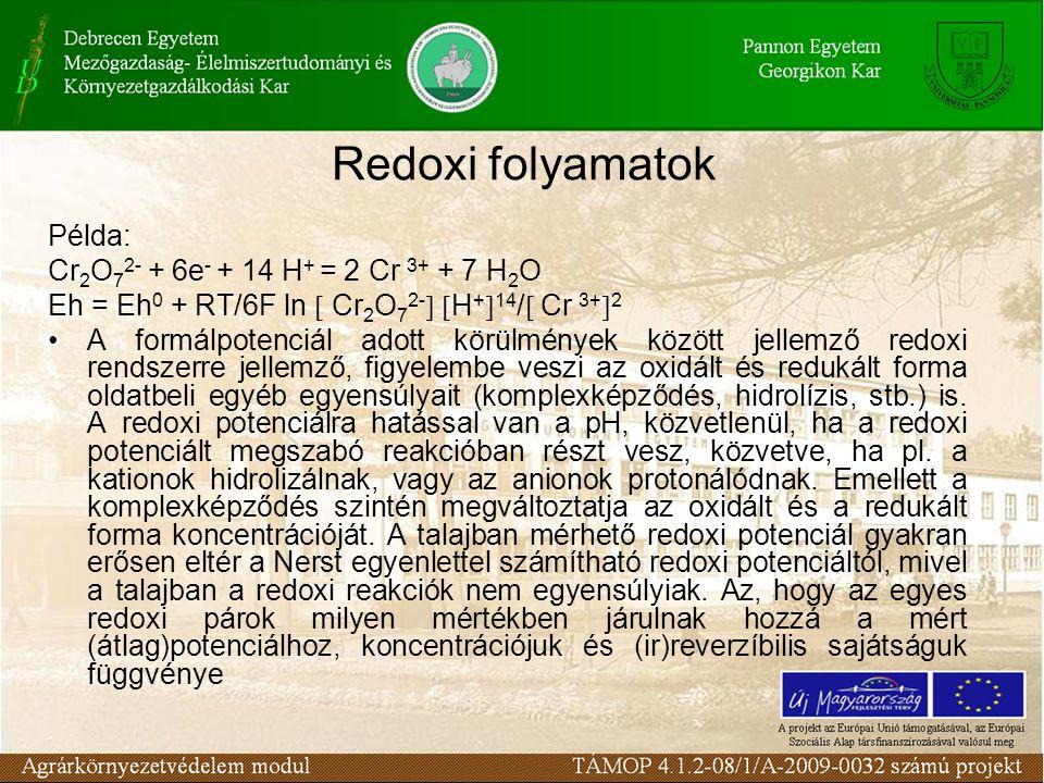 Példa: Cr 2 O 7 2- + 6e - + 14 H + = 2 Cr 3+ + 7 H 2 O Eh = Eh 0 + RT/6F ln  Cr 2 O 7 2-   H +  14 /  Cr 3+  2 A formálpotenciál adott körülmények között jellemző redoxi rendszerre jellemző, figyelembe veszi az oxidált és redukált forma oldatbeli egyéb egyensúlyait (komplexképződés, hidrolízis, stb.) is.