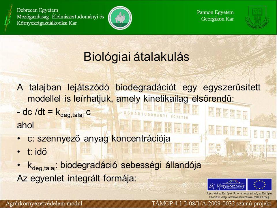 A talajban lejátszódó biodegradációt egy egyszerűsített modellel is leírhatjuk, amely kinetikailag elsőrendű: - dc /dt = k deg,talaj c ahol c: szennyező anyag koncentrációja t: idő k deg,talaj : biodegradáció sebességi állandója Az egyenlet integrált formája: Biológiai átalakulás