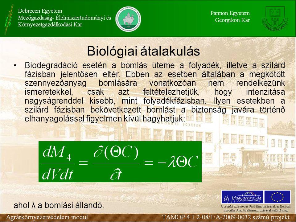 Biodegradáció esetén a bomlás üteme a folyadék, illetve a szilárd fázisban jelentősen eltér.