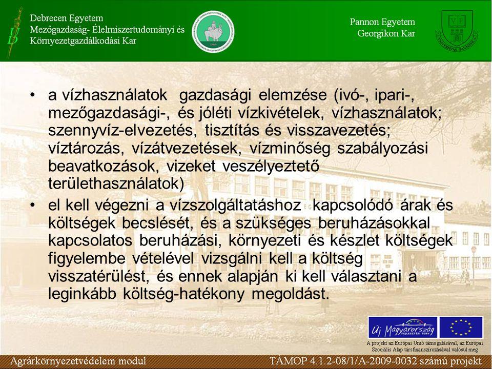 A Keretirányelv legfontosabb rendelkezései a következők: ki kell jelölni a különös védelemben részesítendő területeket (ivóvízbázisok, szabadtéri fürdőhelyek, tápanyag-érzékeny területek, stb.); monitorig programok és rendszerek kialakítása; Vízgyűjtő Gazdálkodási Terv a tagállamok, és a csatlakozásra készülő országok teljes területére; A Keretirányelv előírásainak érvényesítésébe a társadalom bevonása.