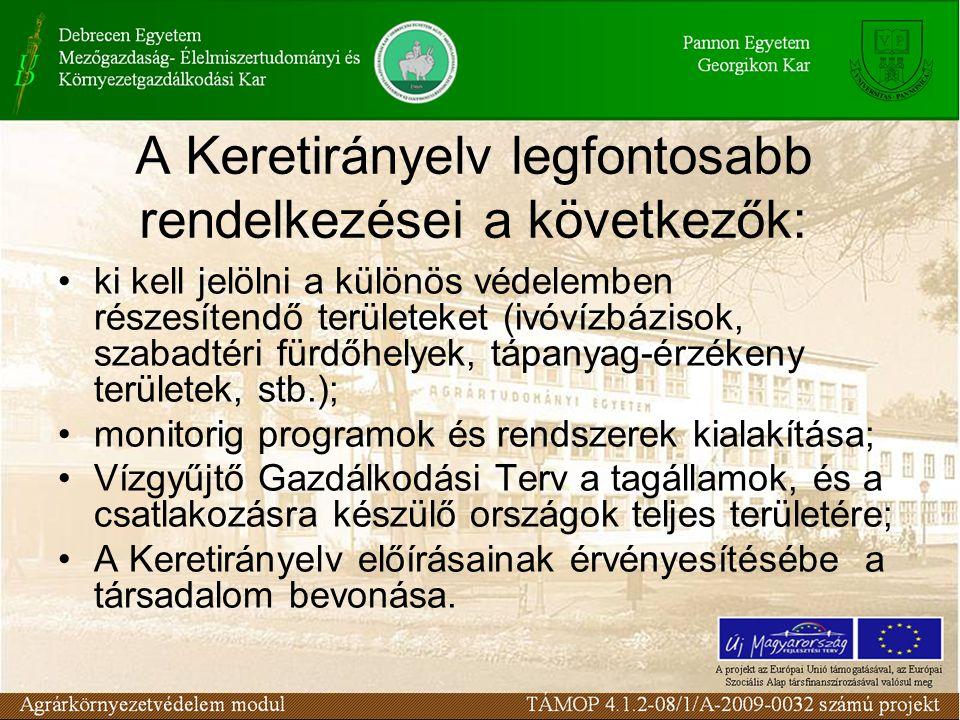A Keretirányelv előírásaival kapcsolatban számos feladat adódik víziközmű szolgáltatás területén, melyek végrehajtása csak fokozatosan lehetséges.