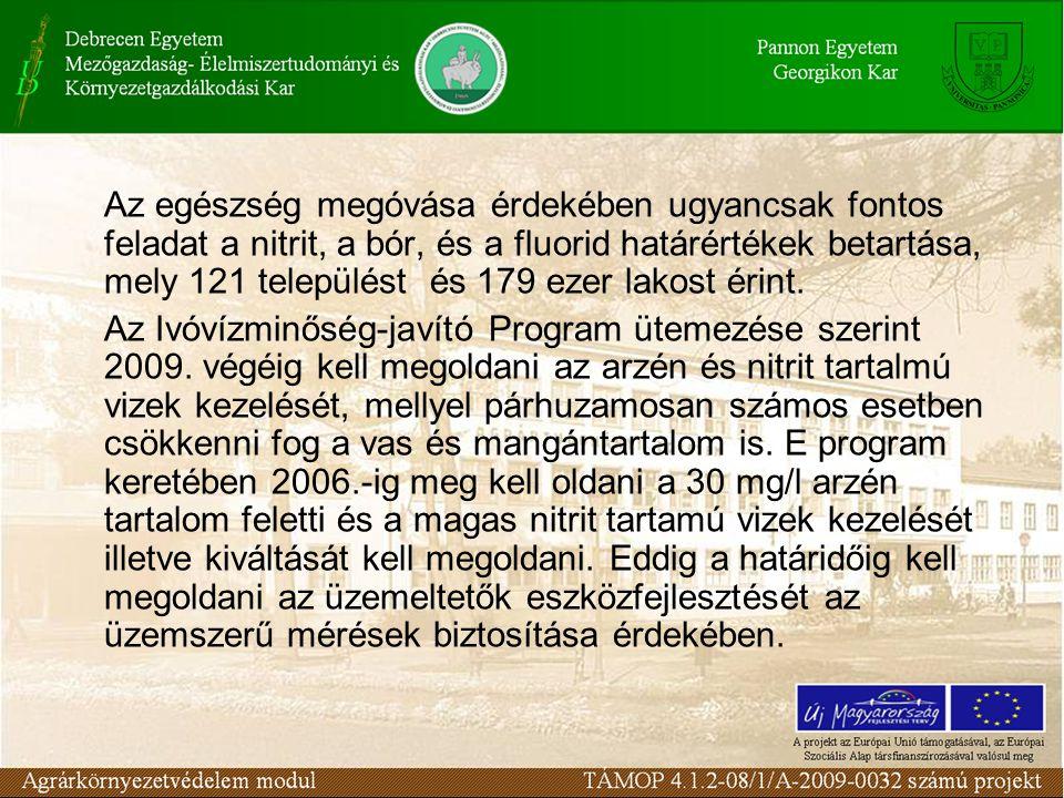 Ivóvíz szolgáltatás A program becsült költsége mintegy 200 milliárd Ft., melynek megközelítőleg felét kell fordítani a 2009.-ig végrehajtandó feladatokra.