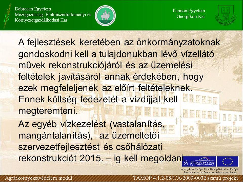 A szennyvízelvezetés és-tisztítás Az ezzel kapcsolatos feladatokat a 25/2002.